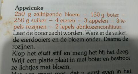 Appelcake recept Boerinnenbond