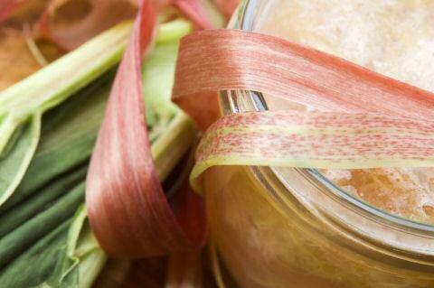 Pot vers gemaakte rabarberconfituur