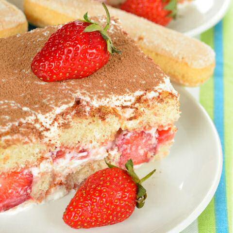 Tiramisu met aardbeien