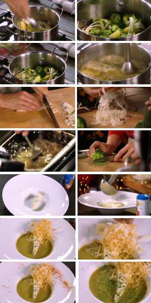 Broccolisoep maken: soepgroenten stoven, broccoli stoven, sudderen, pureren, garneren