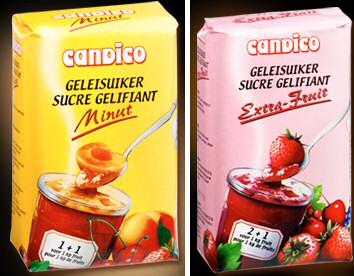 2 soorten geleisuiker voor gelijke hoeveelheden fruit met suiker en voor 2 maal zoveel fruit met suiker