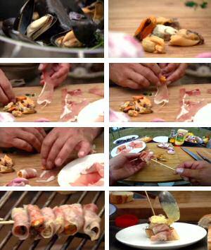 Mosselen koken, uit de schelp halen, in ham rollen, grillen op de bbq en serveren met knoflooksaus