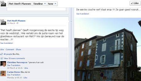 Het nieuwe restaurant van Piet Huysentruyt op Facebook