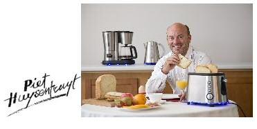 Piet Huysentruyt ontbijt omringd met domo keukengerei