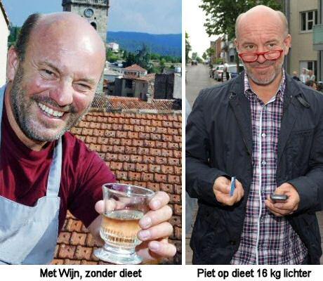 Piet Huysentruyt voor en na hij op dieet ging en 16 kilo is afgevallen